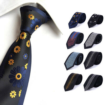 Skinny Men Tie 6cm Floral Dot And Striped Casual Style Slim Neck Ties For Party