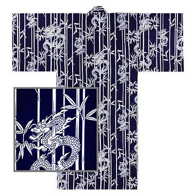 "Japanese Kimono Men's 64""L Yukata TAKERYU Bamboo/Dragon Pattern XXL/MADE JAPAN"