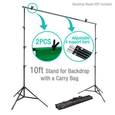 Photography Umbrella Lighting Kit Studio Bulb Muslin Backdrop Support Stand S2