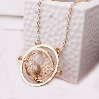 Gold Plated Time Turner Harry Potter Necklace charm Spinning Rotating Hourglass!
