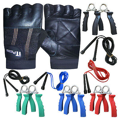 Leather Weight Lifting Gloves & Skipping Rope & Hand Gripper Set Gym Fitness