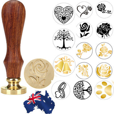 Wooden Vintage Handle Pattern Seal Wax Stamp For Wedding Invitation Letter Card