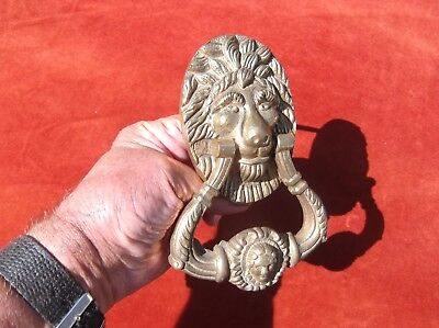 Antique Large Heavy Brass Lion Door Knocker/portrait Face Door Striker.