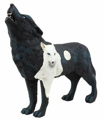 """6.25""""L Black and White Howling Wolf w Full Moon Totem Spirit Figurine Statue"""
