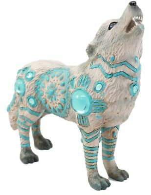 "6.25""L Snow White Howling Wolf w Turquoise Tribal Totem Spirit Figurine Statue"