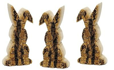 """Natural Wood Rabbit Bunny w/Tree Bark Set/3 Home Crafts Easter 5.25"""" H NEW CB710"""