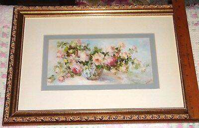 """Vtg French Country Flower Garden """"rose Spread"""" Gold Relief Glass Framed Painting"""