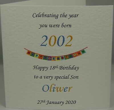 18th Year 2001 You Were Born Personalised Son Brother Uncle Male Birthday Card