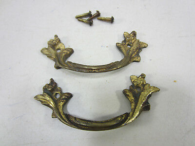 2 Vintage French Style Brass Bail Drawer Pulls #549