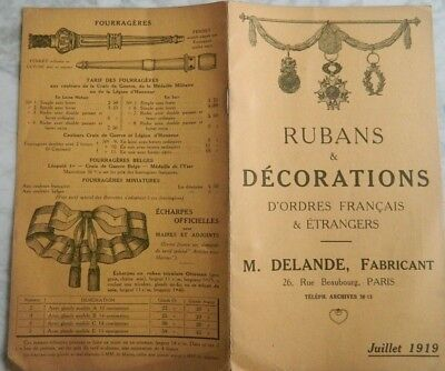 Catalogue Delande Rubans Et Decorations - Juillet 1919