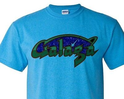 Galaga T-shirt Fee Shipping arcade vintage style distressed heather blue tee