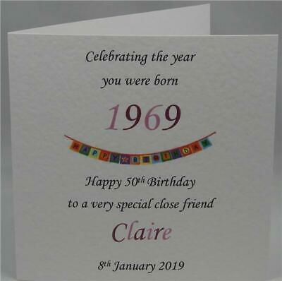 50th Year 1969 You Were Born Personalised Mum Daughter Aunt Female Birthday Card