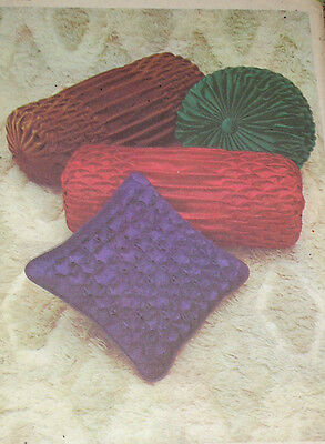Vintage 1970s Simplicity 9855 Smocked Bolster Round Square Pillow Pattern