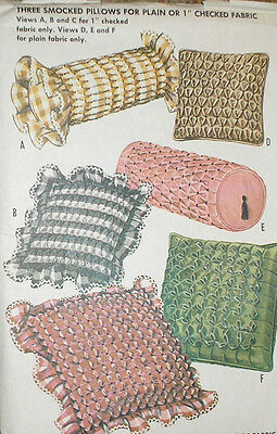 Vintage 1960s McCall's 6464 Smocked Bolster Square Pillow Pattern Unct
