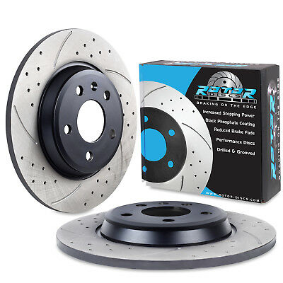 REAR DRILLED GROOVED 300mm BRAKE DISCS FOR AUDI A5 COUPE, CABRIOLET & SPORTBACK