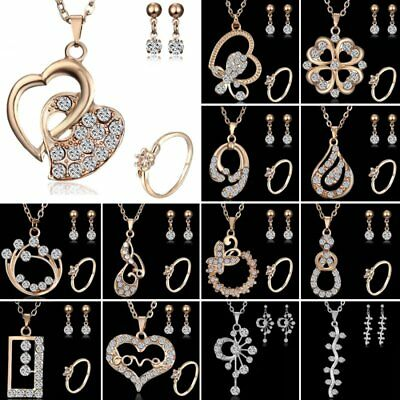 Women 18K Yellow Gold Filled CZ Love Heart Earrings Necklace Set Jewelry Gift