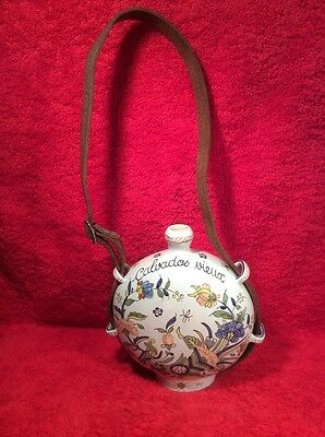 RARE Antique Rouen Faience Gourd Canteen With Original Strap Hand Painted, ff410