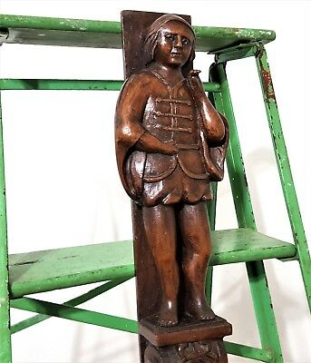 Post Pillar Trim Antique French Carved Wood Gothic Figure Architectural Salvage