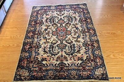 Early 1900 Authentic Persian Kerman or Kirman Rug Small Blue & Beige Throw Rug
