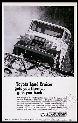 1970 Toyota Land Cruiser photo Gets You There Gets You Back vintage print ad