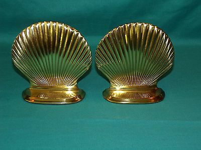 Pair Set Vintage GATCO Solid Brass Clam Shell Book Ends Nautical Sea Beach Decor