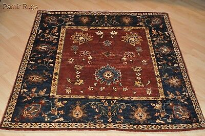 4x4 ft. TOP QUALITY HAND-KNOTTED Vegetable dye chobi Persian design rust navy