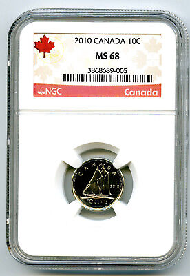 2010 Canada 10 Cent Ngc Ms68 Dime With Rcm Logo Rare...top Highest Grade Only 12