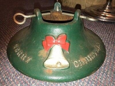 Antique Manitowoc Wisc Cast Iron Christmas Tree Stand Silver Holiday Bell