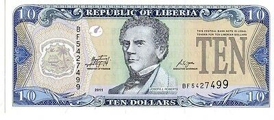 Liberia  2011 10 Dollars Currency Unc