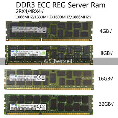 Samsung 4GB/8GB/16GB/32GB/LR DDR3 1333/1600MHZ ECC REG Registered Server ram LOT