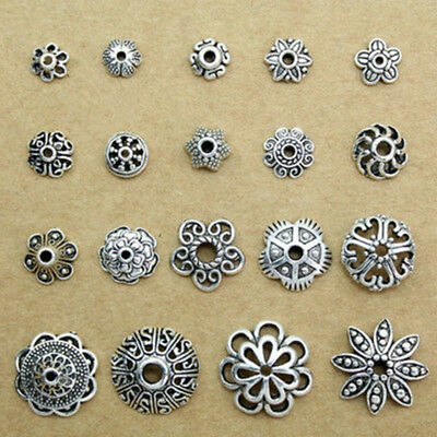 Wholesale Charm Hollow Tibetan Silver Flower End Bead Caps Connector DIY Finding