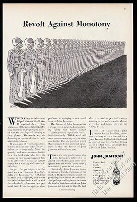 1953 John Jameson's Irish Whiskey army men art Revolt Against Monotony print ad