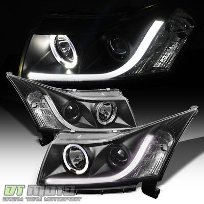 "Black 2011-2016 Chevy Cruze DRL ""LED Strip"" Halo Projector Headlights Left+Right"
