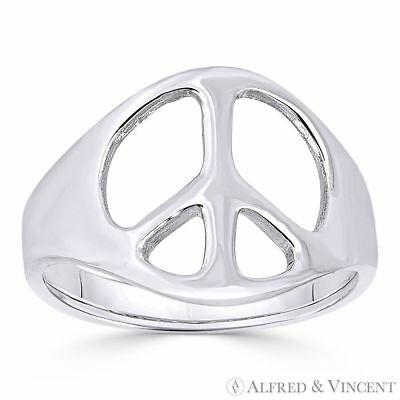 Peace Sign 13mm Charm Hippie Symbol Right-Hand Ring Band in .925 Sterling Silver