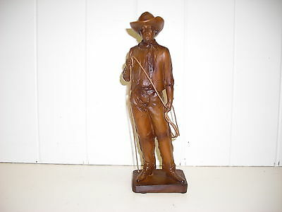 Py0275 Cowboy With Lasso Statue Decoration Figurine Wood Look