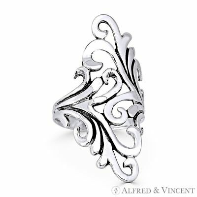 Plant Vine Charm Oxidized .925 Sterling Silver Long / Wide Design Statement Ring