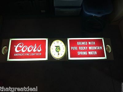 Coors Beer Electric Sign Light Lighted Clock Large Vintage Waterfall 1970 Rare