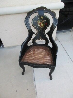English Victorian Paper Mache Black Lacquer Mother Pearl Parlor Chair