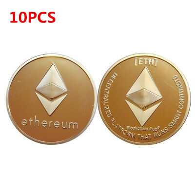 10pcs Ethereum Crypto Collectible Coin Gold Plated Commemorative Christmas Gift