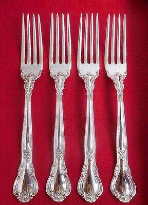 "Gorham CHANTILLY Sterling Silver 7"" Luncheon/ DINNER FORKS~NO Monograms Set of 4"