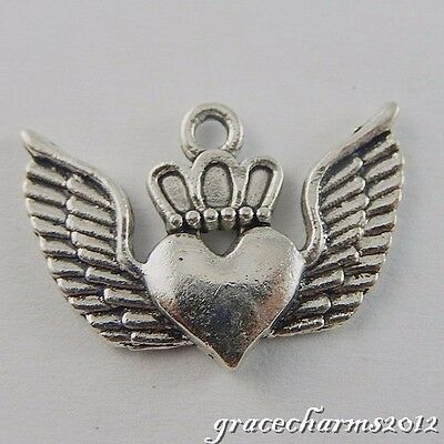 18x Vintage Silver Alloy Winged Heart Shape Charms Pendant Jewelry Crafts 50705