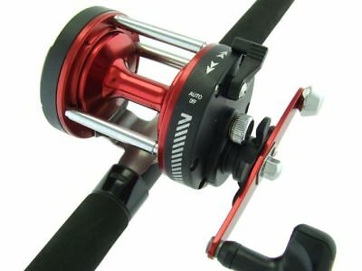 SARATOGA 6'6 15kg Red Overhead Boat Trolling Fishing Rod and Reel Combo Snapper