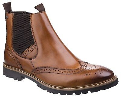 Base London Mens Bosworth Washed Tan Leather Brogue Chelsea Boots