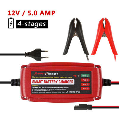 12V 5Amp Fully Automatic Smart Battery Charger for Car Motorcycle Lead Acid AGM