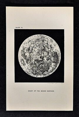 1897 Astronomy Map - Moon Surface Lunar Crater Star Tranquility Bay - Lithograph
