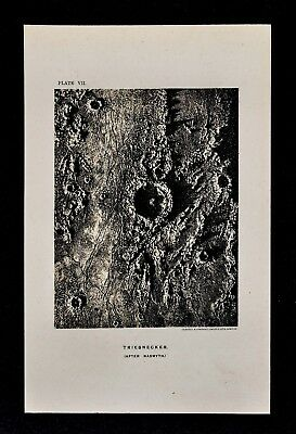 1897 Astronomy Map - Triesnecker Crater - Sinus Medii Moon Lunar Surface Nasmyth
