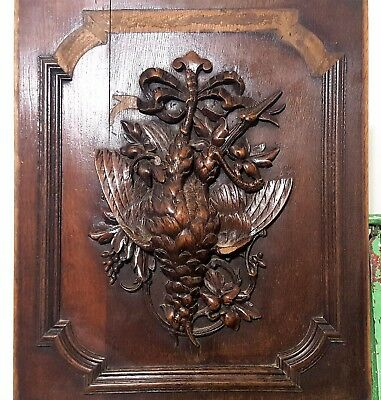 BLACK FOREST TROPHY ANTIQUE FRENCH HAND CARVED WOOD HUNTING SCULPTURE PANEL a