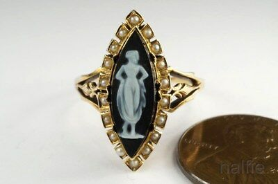 LOVELY ANTIQUE LATE VICTORIAN 15K GOLD PEARL HARDSTONE CAMEO RING c1890