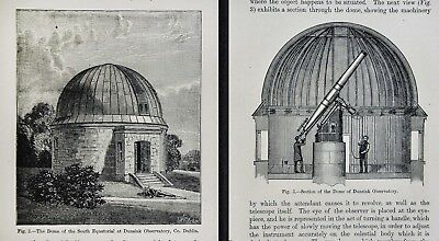 1897 Astronomy 2 Prints  Dome Telescope Dunsink Observatory Dublin Ireland Stars