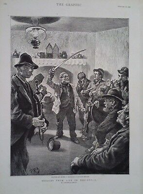 1888 Print Politics And Noise At A Cottage Meeting In Ireland